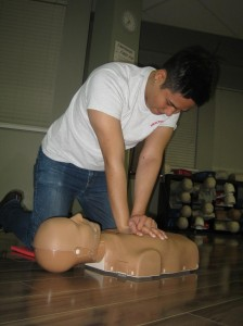 Rescuers practice on training mannequins that are both for both adult and pediatric victims.